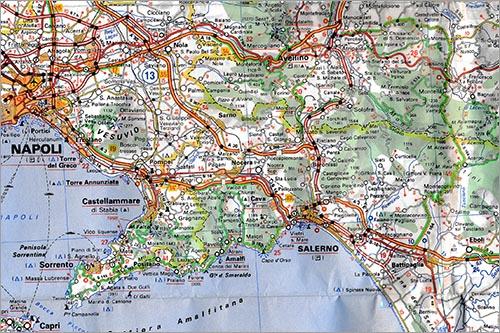 Scan van onze Michelinkaart van Zuid-Italië.