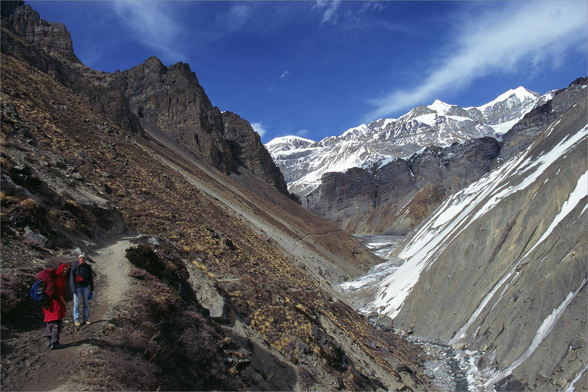 Op weg naar Thorung Pedi, Annapurna Circuit, Nepal