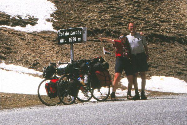 Heldenfoto op de Col de Larche.