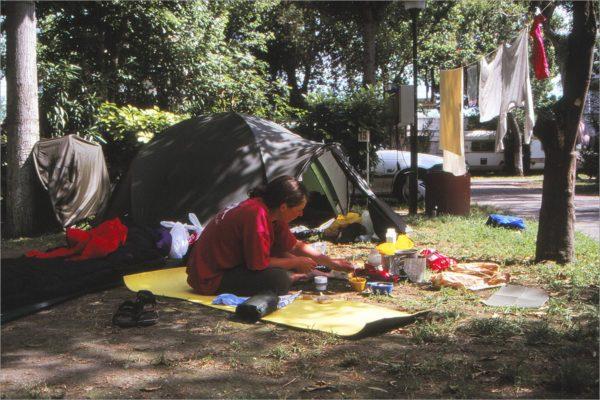 Rust op de camping van Pompei.