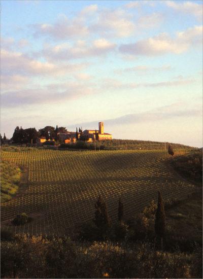 Toscana bij zonsondergang.