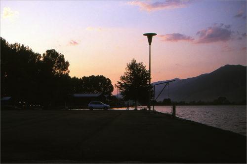 Zonsondergang op de camping in Ioannina.